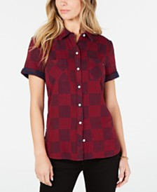 Tommy Hilfiger Printed Cotton Short-Sleeve Top, Created for Macy's