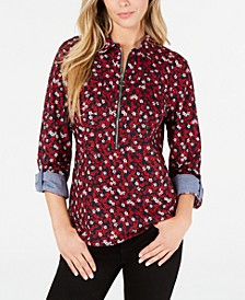 Cotton Floral-Print Zip Popover Top, Created for Macy's