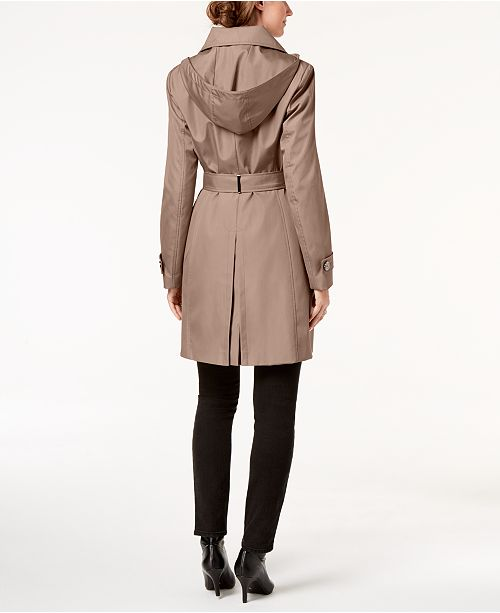 new specials new lifestyle wide range Petite Belted Hooded Water Resistant Trench Coat, Created for Macys