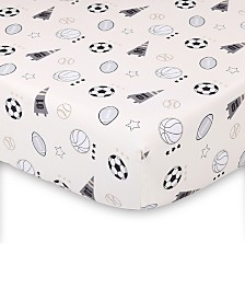 The Peanutshell Sports League Fitted Crib Sheet Print Tossed Icons