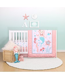 Belle Mermaid Kisses 4-Piece Crib Bedding Set