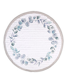 The Peanutshell Farmhouse Printed Round Blanket with Teether