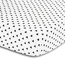 Black & White Triangle Print Fitted Crib Sheet
