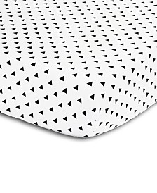 The Peanutshell Black & White Triangle Print Fitted Crib Sheet