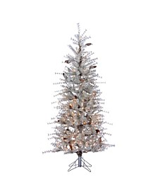 6Ft. Frosted Sage Hard Needle Slim Tree with Pinecones and 300 Clear Lights
