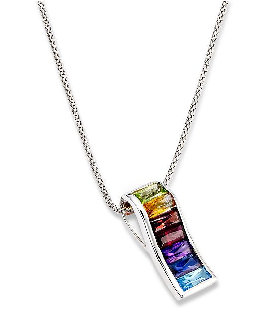 multistone rainbow image s necklace product fpx silver ct sterling t main pendant macy shop w