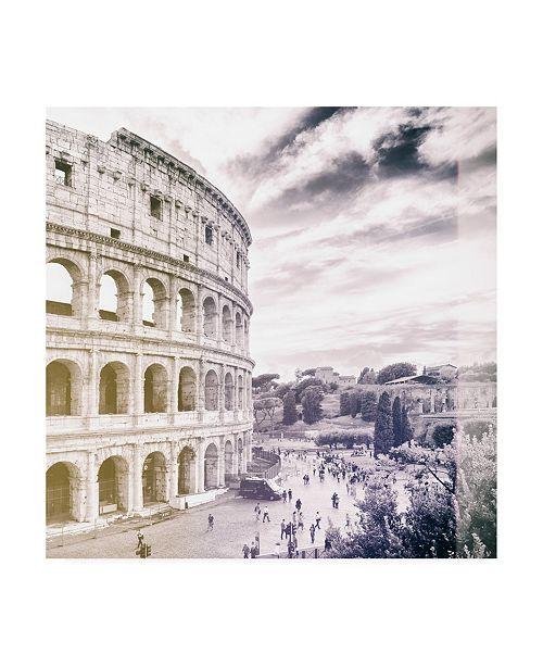"Trademark Global Philippe Hugonnard Dolce Vita Rome 3 Colosseum VII Canvas Art - 15.5"" x 21"""