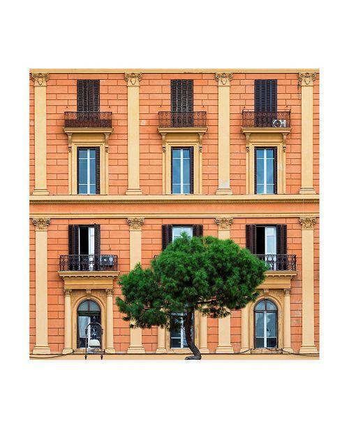 "Trademark Global Philippe Hugonnard Dolce Vita Rome 3 Orange Building Facade Canvas Art - 15.5"" x 21"""