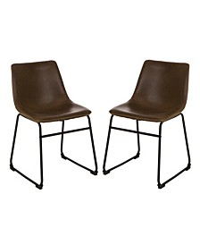 Mid-Century Modern Leatherette Dining Chair Set of 2