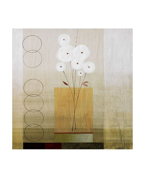 "Trademark Global Pablo Esteban White Flowers with Circles Canvas Art - 36.5"" x 48"""