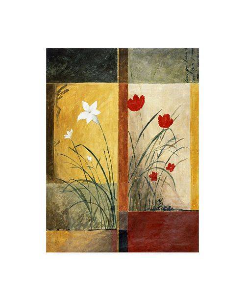 """Trademark Global Pablo Esteban White and Red Flowers Canvas Art - 36.5"""" x 48"""""""