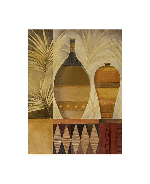 """Trademark Global Pablo Esteban Two Vases with Palms Canvas Art - 36.5"""" x 48"""""""