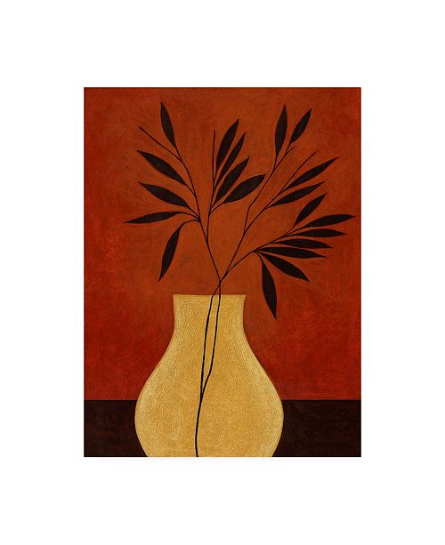 "Trademark Global Pablo Esteban Yellow Vase with Leaves Canvas Art - 15.5"" x 21"""
