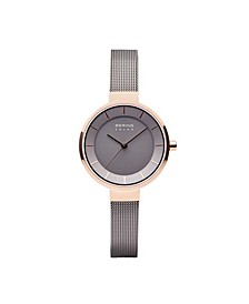 Ladies' Slim Solar Case Mesh Watch