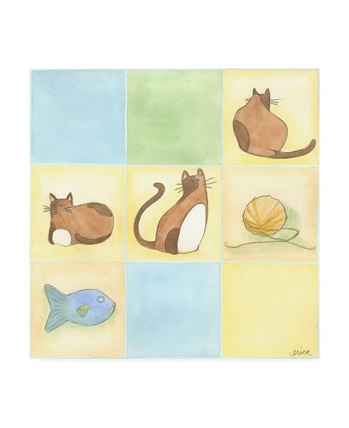 "Trademark Global June Erica Vess Tic tac Cats in Blue Childrens Art Canvas Art - 15.5"" x 21"""