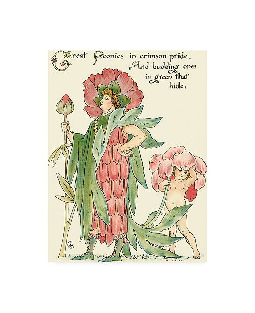 "Trademark Global Walter Crane Shakespeares Garden V (Peony) Canvas Art - 15.5"" x 21"""