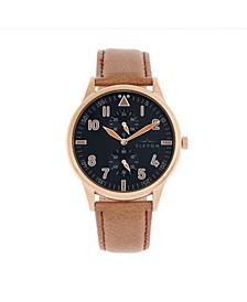 Men's Turbine Genuine Leather Strap Watch 45mm
