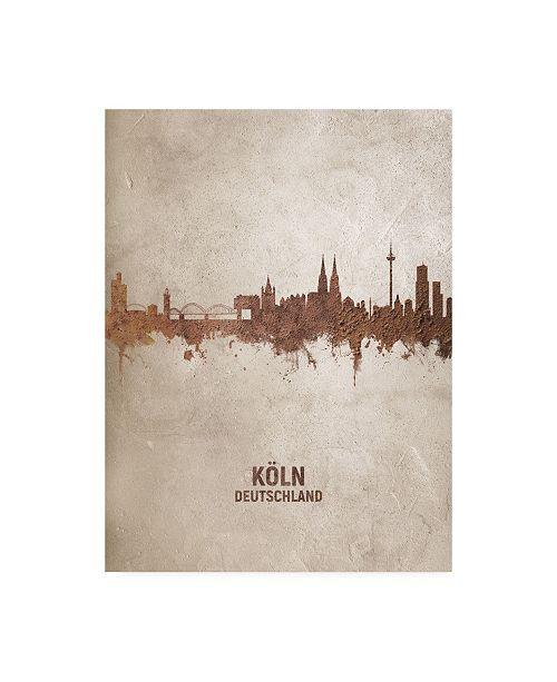 "Trademark Global Michael Tompsett Cologne Germany Rust Skyline Canvas Art - 19.5"" x 26"""