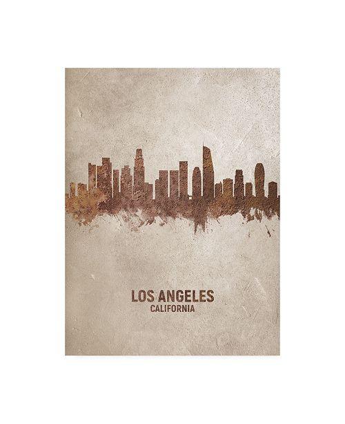 "Trademark Global Michael Tompsett Los Angeles California Rust Skyline Canvas Art - 36.5"" x 48"""