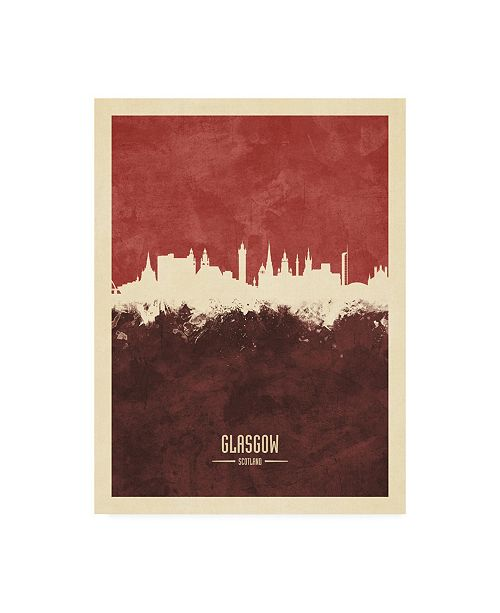"Trademark Global Michael Tompsett Glasgow Scotland Skyline Reds Canvas Art - 19.5"" x 26"""