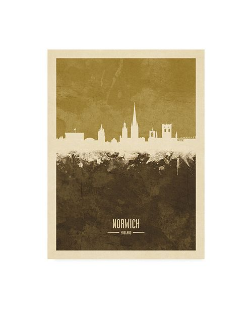 "Trademark Global Michael Tompsett Norwich England Skyline Brown Canvas Art - 19.5"" x 26"""