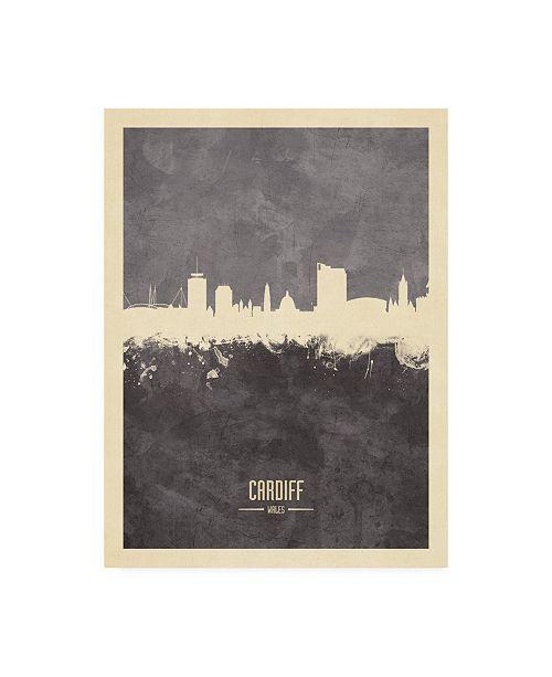 "Trademark Global Michael Tompsett Cardiff Wales Skyline Gray Canvas Art - 19.5"" x 26"""