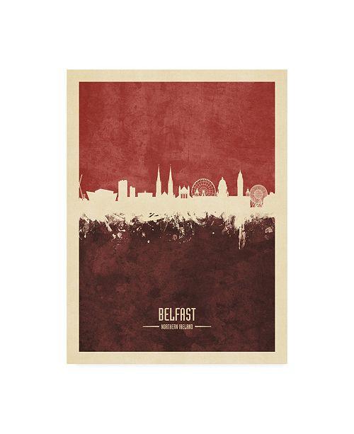 "Trademark Global Michael Tompsett Belfast Northern Ireland Skyline Red II Canvas Art - 36.5"" x 48"""