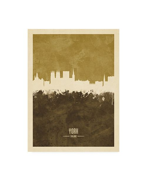 "Trademark Global Michael Tompsett York England Skyline Brown Canvas Art - 19.5"" x 26"""