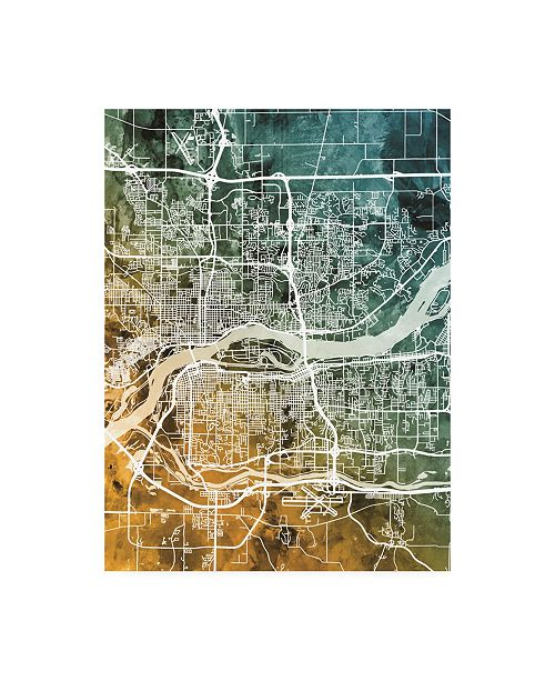 "Trademark Global Michael Tompsett Quad Cities Street Map Teal Orange Canvas Art - 19.5"" x 26"""