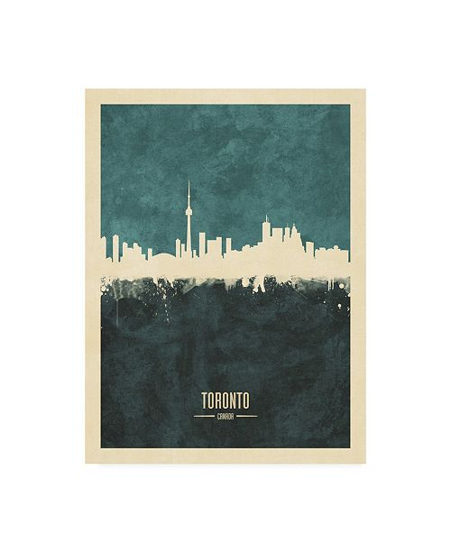 "Trademark Global Michael Tompsett Toronto Canada Skyline Teal Canvas Art - 36.5"" x 48"""