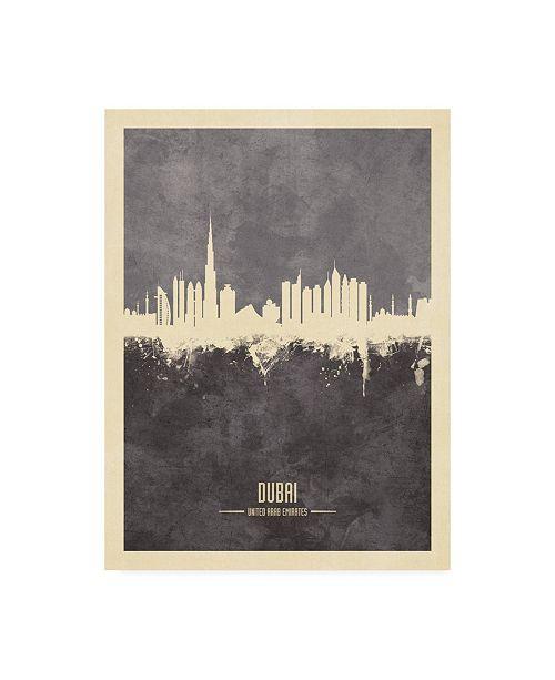 "Trademark Global Michael Tompsett Dubai UAE Skyline Gray Canvas Art - 19.5"" x 26"""