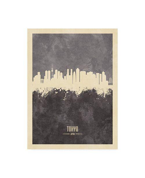 "Trademark Global Michael Tompsett Tokyo Japan Skyline Gray Canvas Art - 19.5"" x 26"""