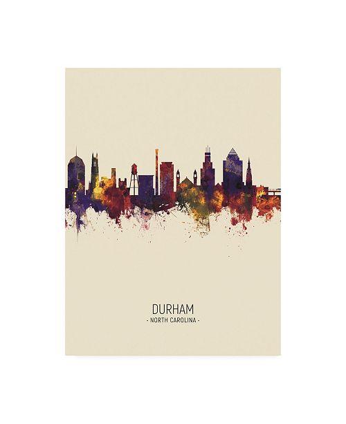 "Trademark Global Michael Tompsett Durham North Carolina Skyline Portrait III Canvas Art - 15.5"" x 21"""