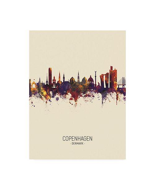 "Trademark Global Michael Tompsett Copenhagen Denmark Skyline Portrait III Canvas Art - 15.5"" x 21"""