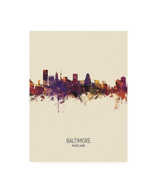 "Trademark Global Michael Tompsett Baltimore Maryland Skyline Portrait III Canvas Art - 27"" x 33.5"""