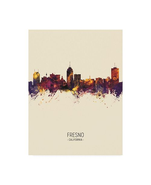 "Trademark Global Michael Tompsett Fresno California Skyline Portrait III Canvas Art - 27"" x 33.5"""