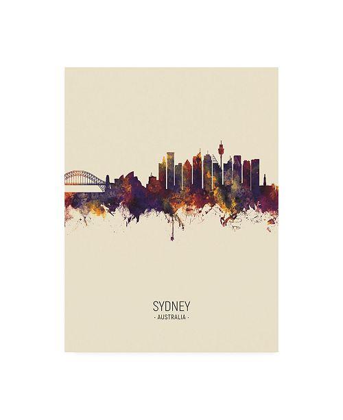 "Trademark Global Michael Tompsett Sydney Australia Skyline Portrait III Canvas Art - 27"" x 33.5"""