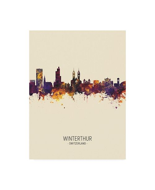 "Trademark Global Michael Tompsett Winterthur Switzerland Skyline Portrait III Canvas Art - 36.5"" x 48"""
