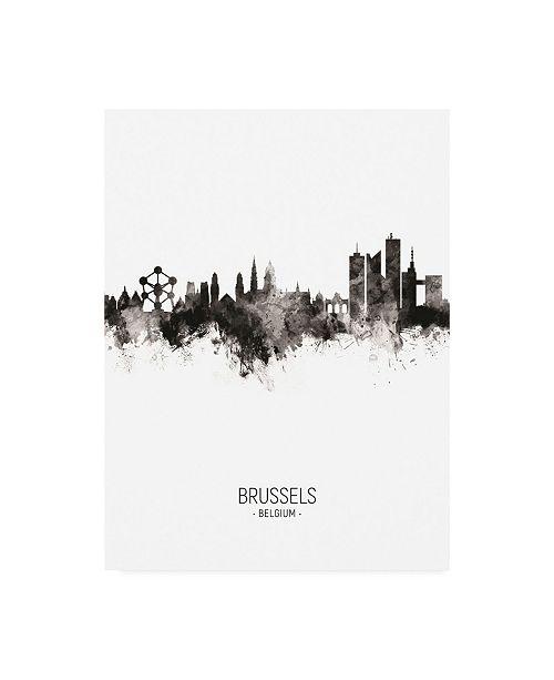 "Trademark Global Michael Tompsett Brussels Belgium Skyline Portrait II Canvas Art - 15.5"" x 21"""
