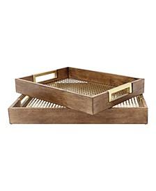Hanneli Wood Nesting Metal Trays, 2 Piece