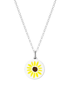 "Auburn Jewelry Mini Sunflower Pendant Necklace in Sterling Silver, 16"" + 2"" Extender"