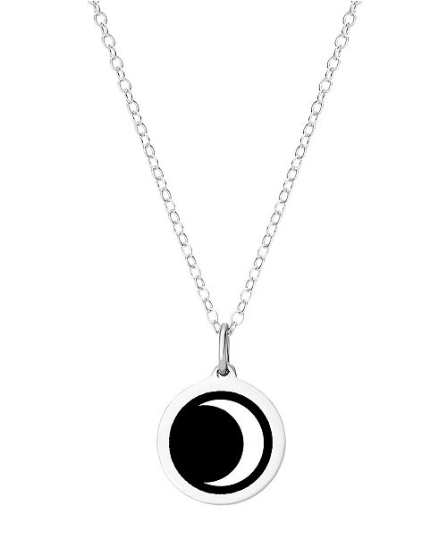 e68e029412cf2 Mini Moon Pendant Necklace in Sterling Silver and Enamel, 16 + 2 Extender