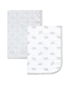 Cotton Swaddle Blankets, Elephant, 2 Pack