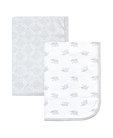 Luvable Friends Cotton Swaddle Blankets, Elephant, 2 Pack