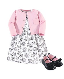 Hudson Baby Dress, Cardigan, Shoe Set, 3 Piece, Toile, 12-18 Months