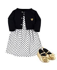 Dress, Cardigan, Shoe Set, 3 Piece, Black Dot, 0-3 Months