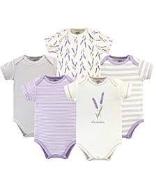 Organic Cotton Bodysuit, 5 Pack, Lavender, 18-24 Months