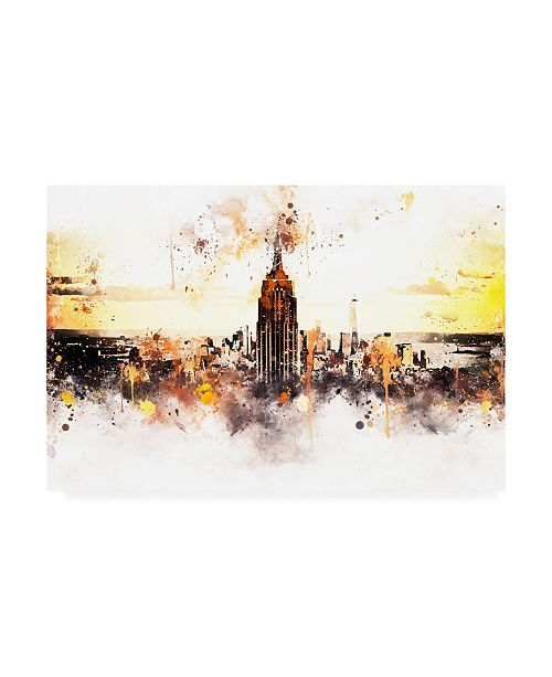 """Trademark Global Philippe Hugonnard NYC Watercolor Collection - Sunset Skyline Canvas Art - 15.5"""" x 21"""""""