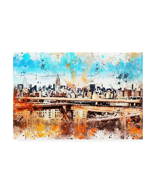 "Trademark Global Philippe Hugonnard NYC Watercolor Collection - Manhattan View III Canvas Art - 36.5"" x 48"""