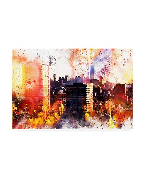 "Trademark Global Philippe Hugonnard NYC Watercolor Collection - New York Sunset Canvas Art - 15.5"" x 21"""